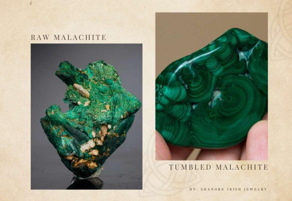 Raw Malachite and Tumbled Malachite