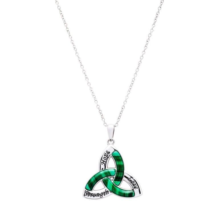 Trinity Knot Malachite Pendant in Sterling Silver