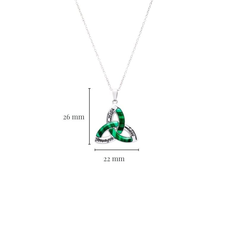 Trinity Knot Malachite Pendant in Sterling Silver with Measurement