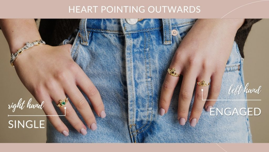 Claddagh heart tip pointing outwards