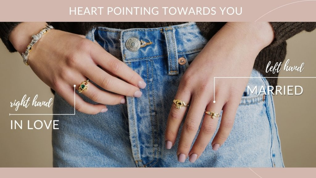 Claddagh heart tip pointing towards you