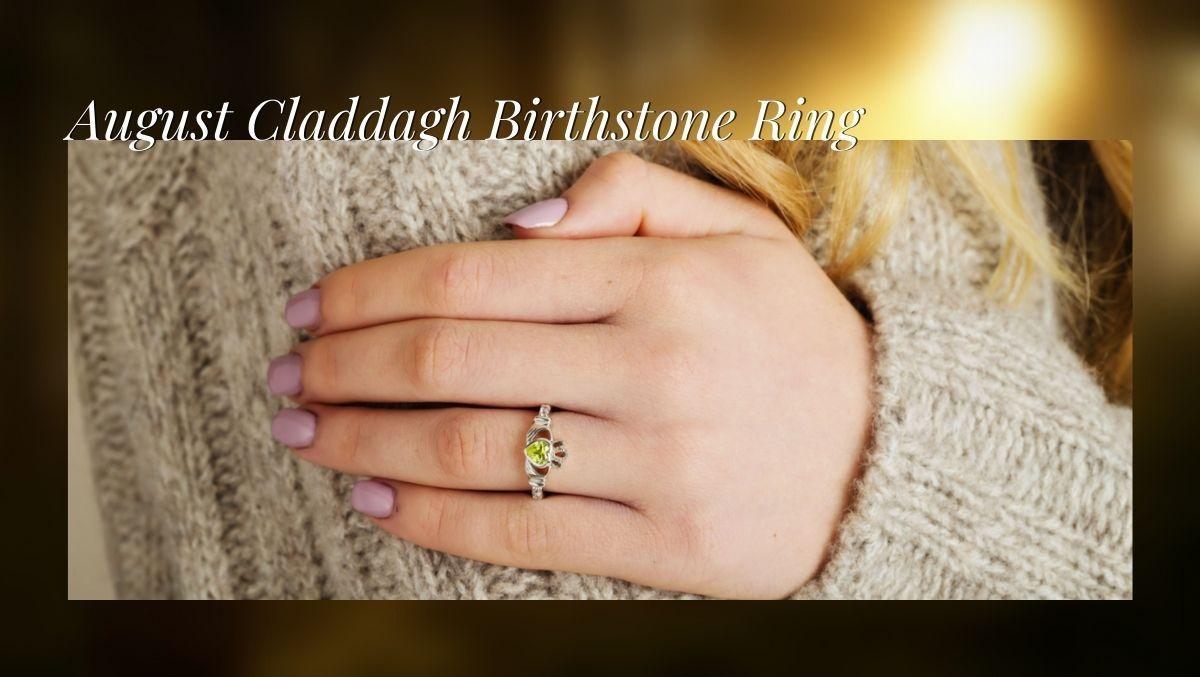 August Claddagh Birthstone Ring