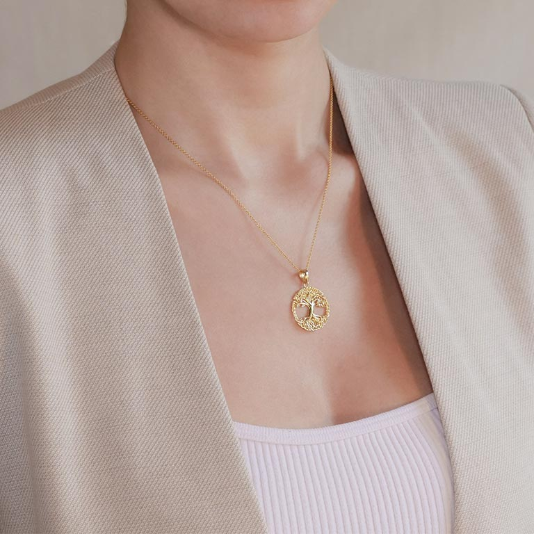 14KT Gold Vermeil Celtic Tree of Life Necklace Embelished with With Cubic Zirconias On Model