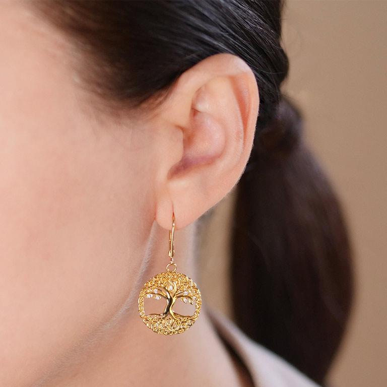 14KT Gold Vermeil Drop Celtic Tree of Life Earrings On Model