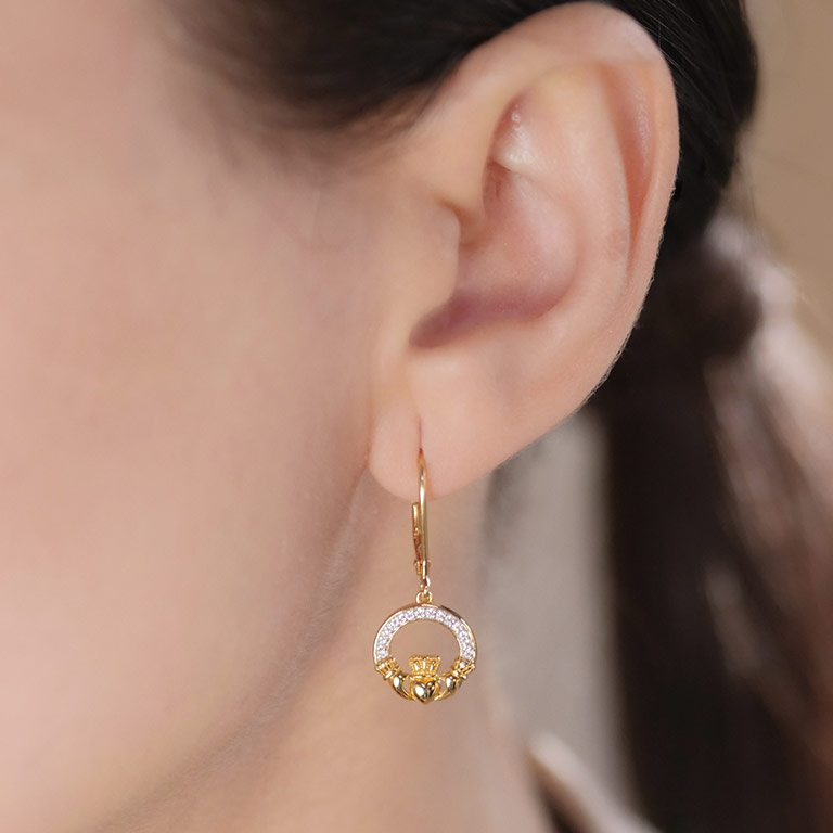 14KT Gold Vermeil Drop Claddagh Earring Studded with White Cubic Zirconias on Model