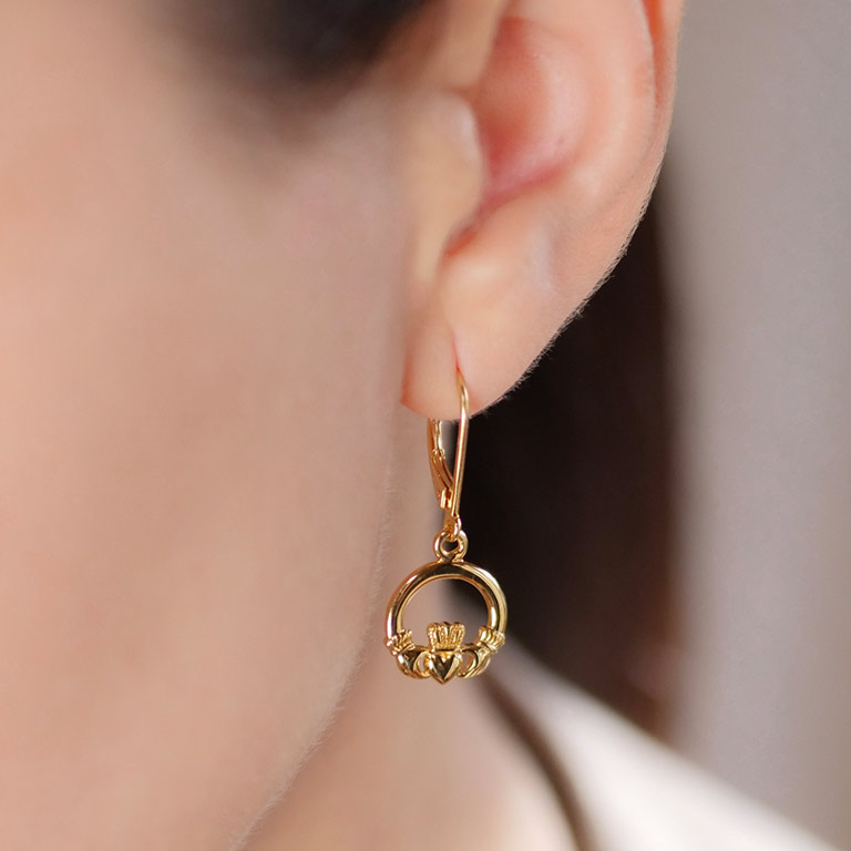 14KT Gold Vermeil Drop Claddagh Earrings On Model