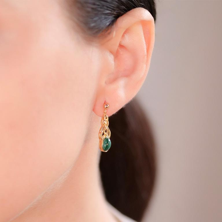 14KT Gold Vermeil Drop Malachite Celtic Earrings On Model