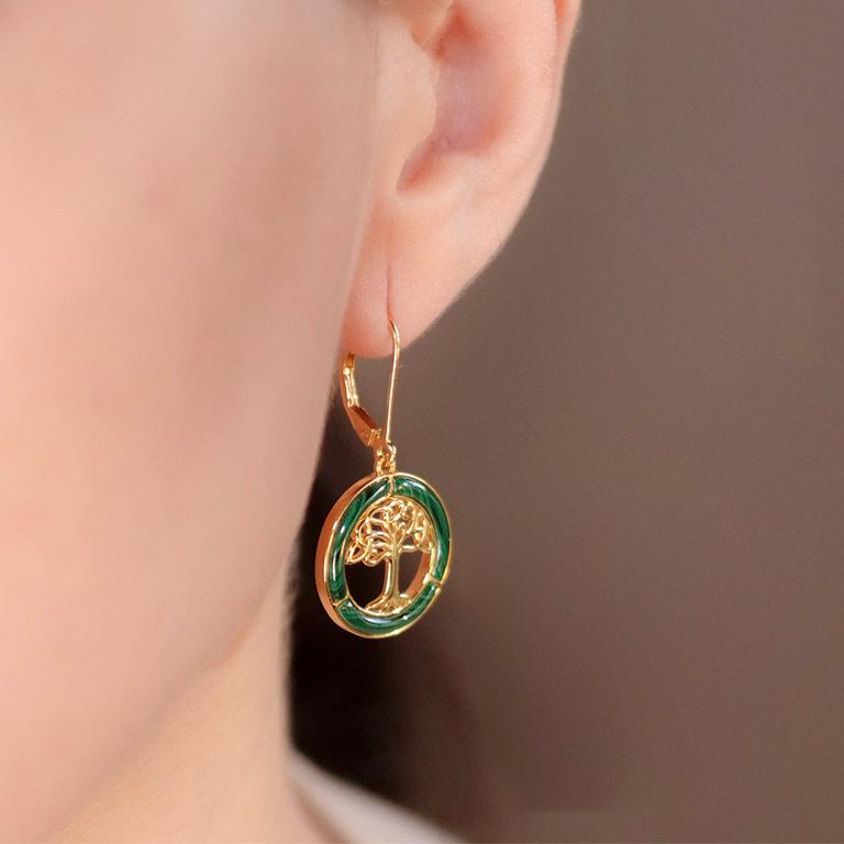 14KT Gold Vermeil Drop Malachite Celtic Tree of Life Earrings On Model
