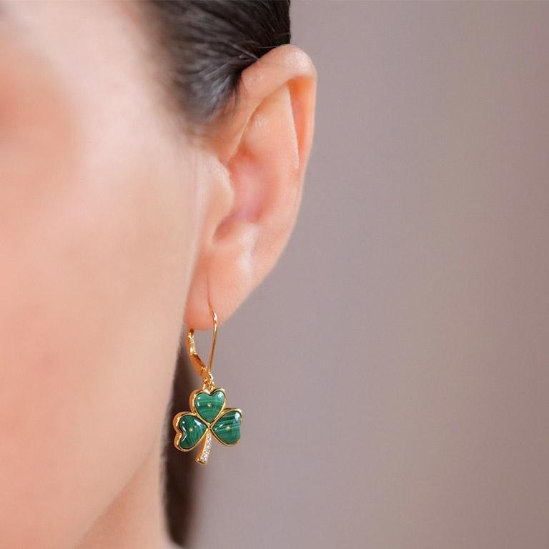 14KT Gold Vermeil Drop Malachite Shamrock Earring On Model