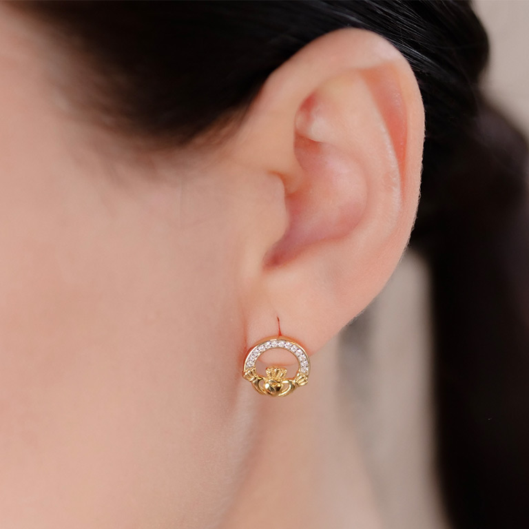 14KT Gold Vermeil Stud Claddagh Earrings Adorened with White Cubic Zirconias On Model