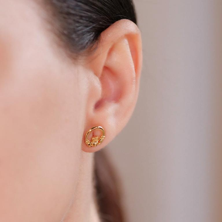 14KT Gold Vermeil Stud Claddagh Earrings On Model