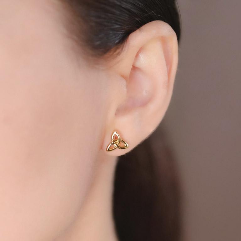 14KT Gold Vermeil Stud Trinity Knot Earrings On Model