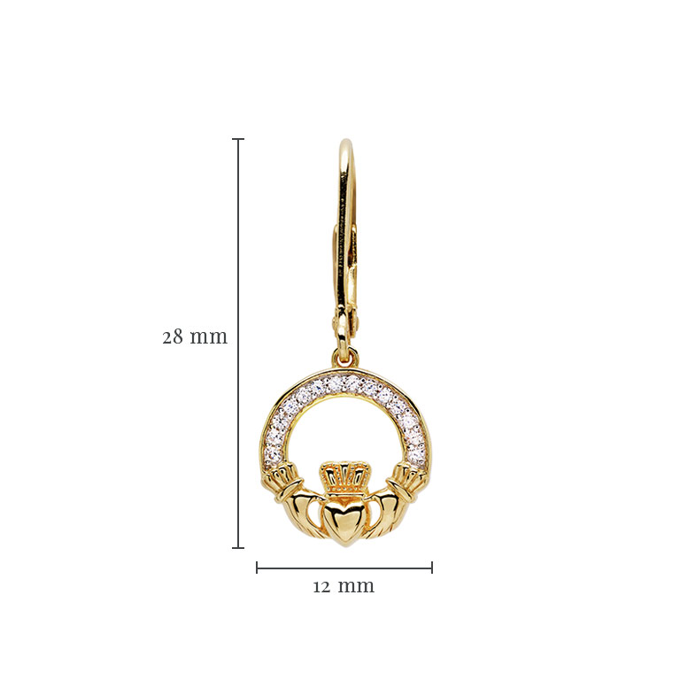 14KT Gold Vermeil Drop Claddagh Earring Studded with White Cubic Zirconias With Measurement