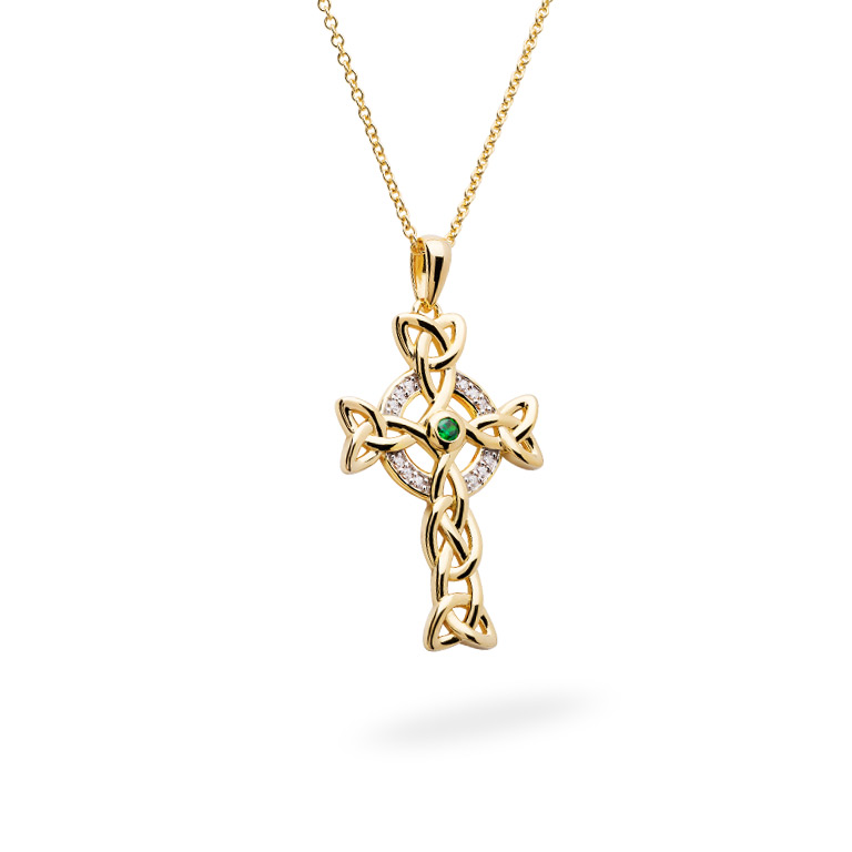 14KT Gold Vermeil Emerald Celtic Cross Necklace embellished with White Cubic Zirconias 3D Perspective