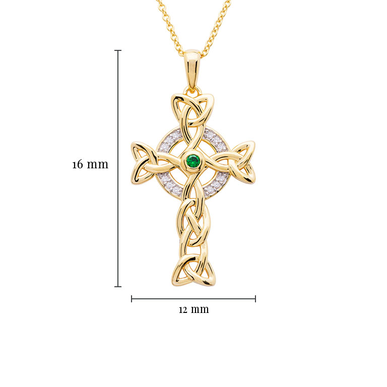 14KT Gold Vermeil Emerald Celtic Cross Necklace embellished with White Cubic Zirconias with Measurement