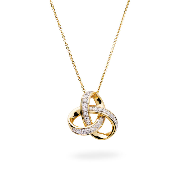 14KT Gold Vermei Trinity Knot Necklace studded with Cubic Zirconias 3D Perspective