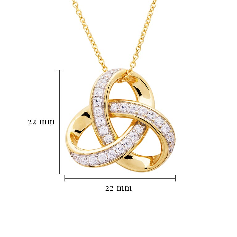 14KT Gold Vermei Trinity Knot Necklace studded with Cubic Zirconias with Measurement