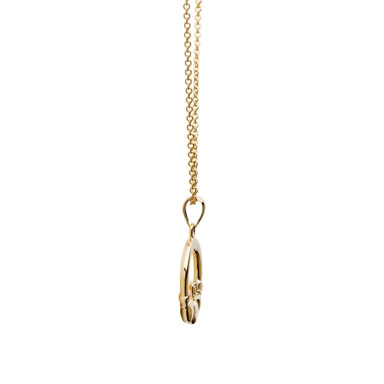 14K Gold Vermeil Claddagh Necklace Side
