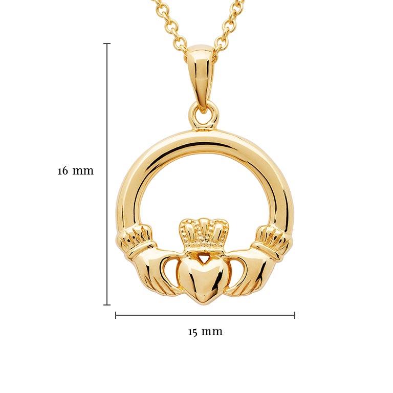 14K Gold Vermeil Claddagh Necklace With Measurement