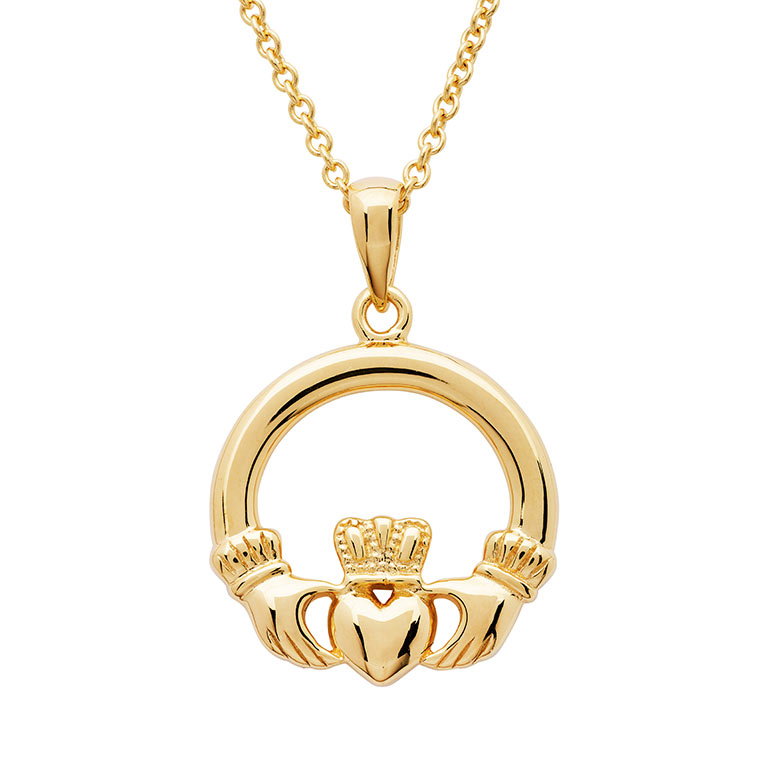 14K Gold Vermeil Claddagh Necklace