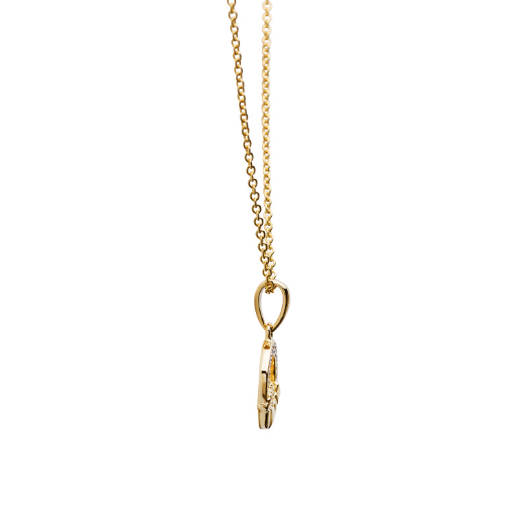 14KT Gold Vermeil Claddagh Necklace Studded with White Cubic Zirconias Side