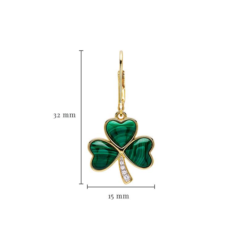 14KT Gold Vermeil Drop Malachite Shamrock Earrings With Measurement