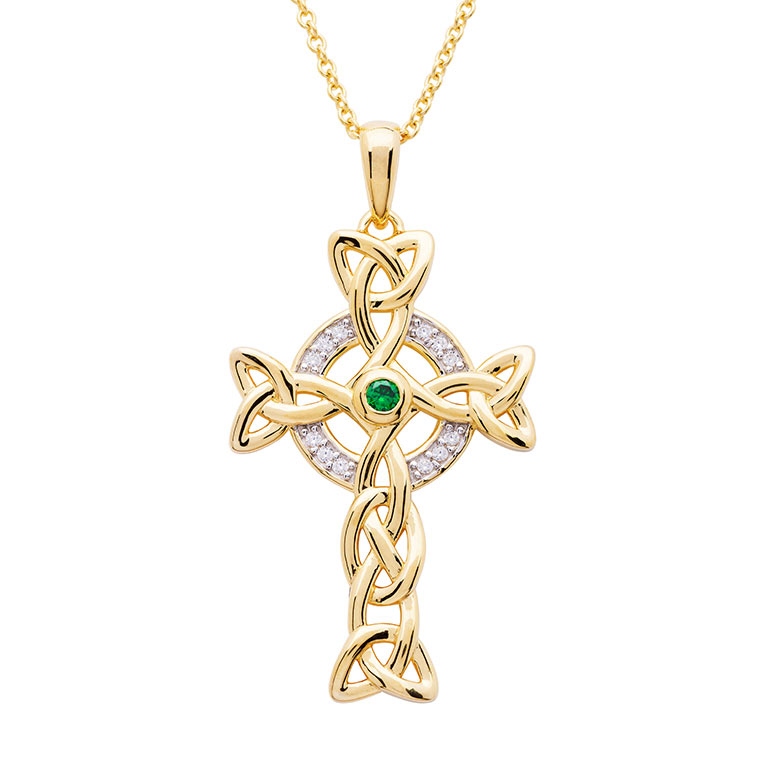 14KT Gold Vermeil Emerald Celtic Cross Necklace embellished with White Cubic Zirconias