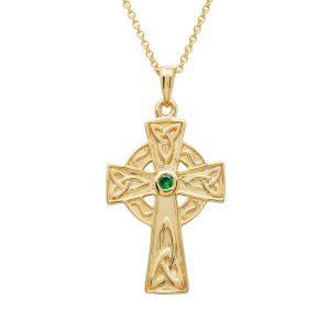 14KT Gold Vermeil Emerald Celtic Cross Necklace