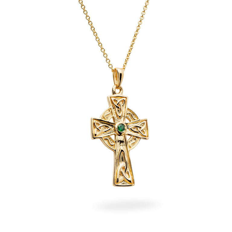 14KT Gold Vermeil Emerald Celtic Cross Necklace 3D Perspective