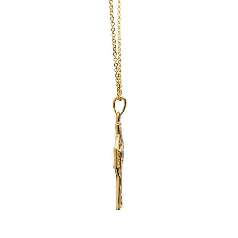 14KT Gold Vermeil Emerald Celtic Cross Necklace Side