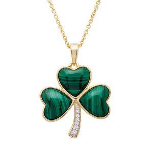 14K Gold Vermeil Malachite Set Shamrock Necklace