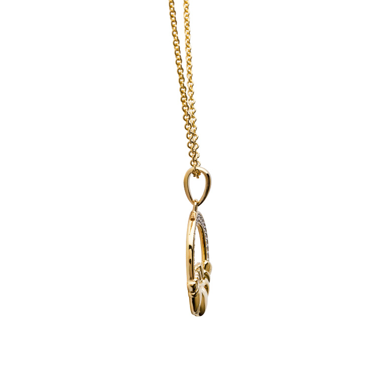 14KT Gold Vermeil Large Claddagh Necklace Studded with White Cubic Zirconias Side