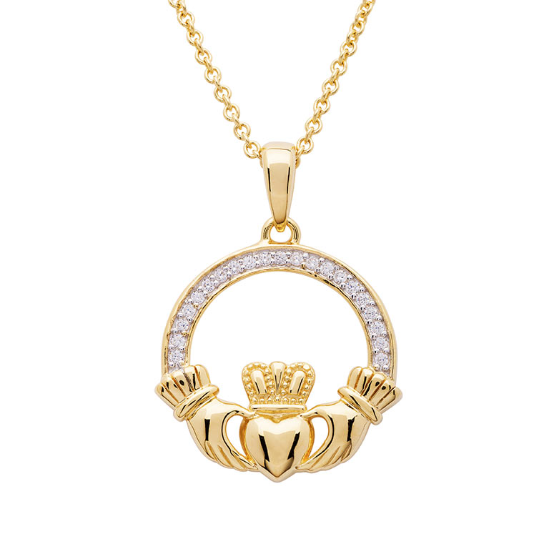 14KT Gold Vermeil Large Claddagh Necklace Studded with White Cubic Zirconias