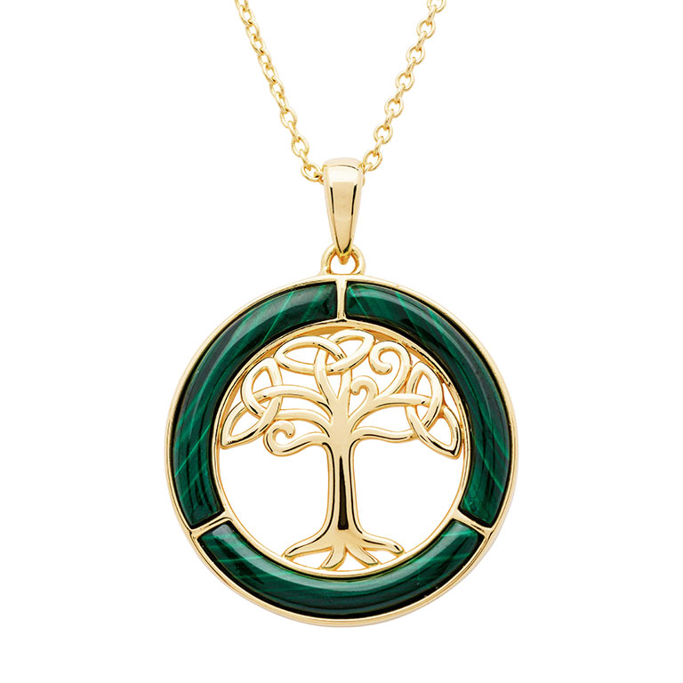 14KT Gold Vermeil Malachite Celtic Tree of Life Pendant