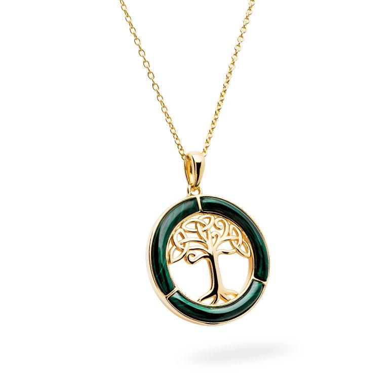 14KT Gold Vermeil Malachite Celtic Tree of Life Pendant 3D Perspective