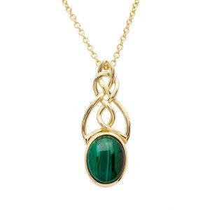 14KT Gold Vermeil Malachite Set Celtic Necklace