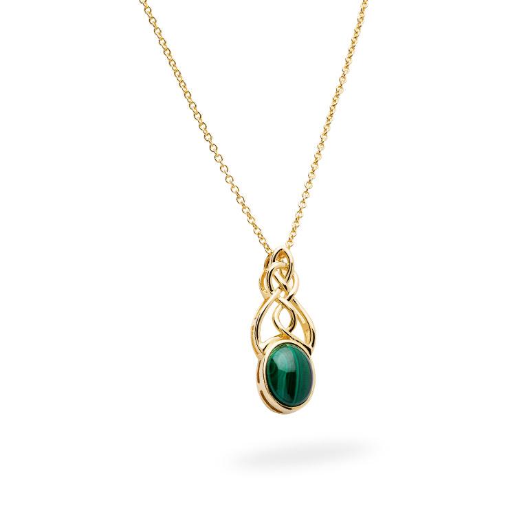 14KT Gold Vermeil Malachite Set Celtic Necklace Side