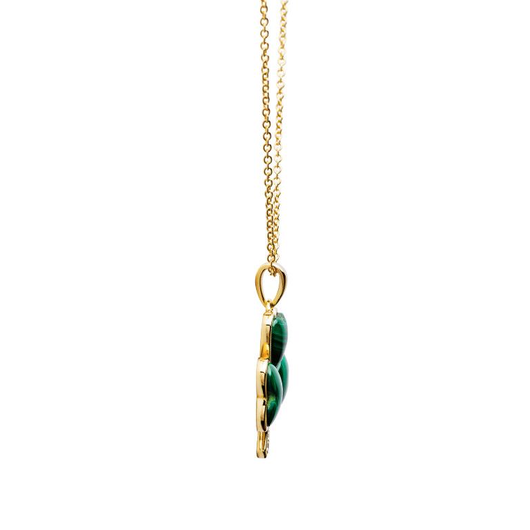 14KGold Vermeil Malachite Set Shamrock Necklace Side