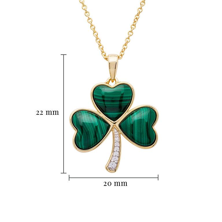 14KGold Vermeil Malachite Set Shamrock Necklace With Measurement