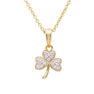 14KT Gold Vermeil Shamrock Necklace Studded with White Cubic Zirconias