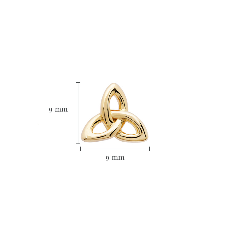 14KT Gold Vermeil Stud Trinity Knot Earrings With Measurement