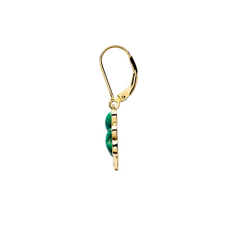 14KT Gold Vermeil Drop Malachite Shamrock Earrrings Side