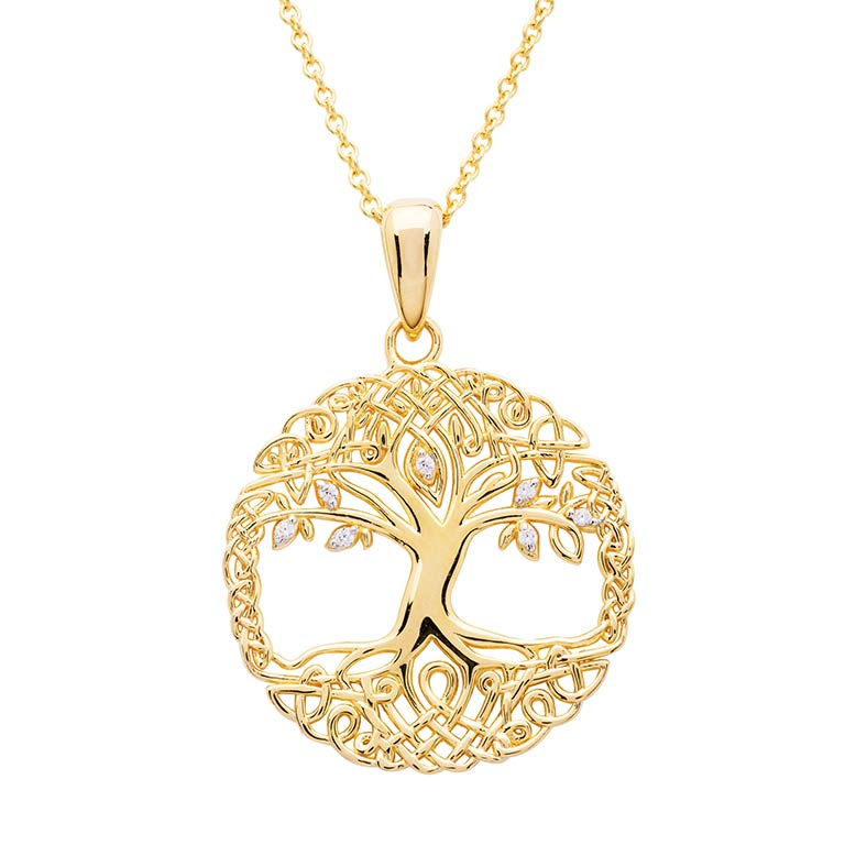 14KT Gold Vermeil Celtic Tree of Life Necklace Embellished with With Cubic Zirconias
