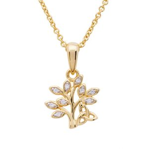 14KT Gold Vermeil Tree of Life Necklace Adorned with White Cubic Zirconias