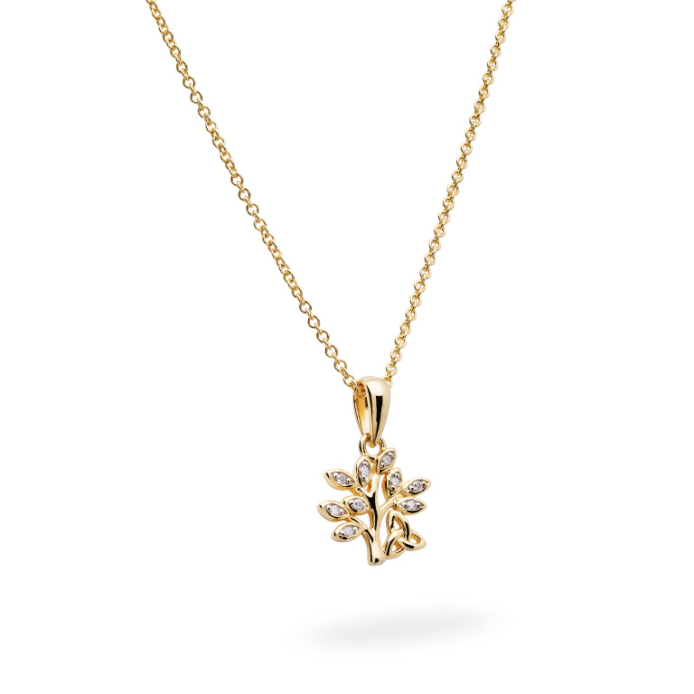 14KT Gold Vermeil Tree of Life Necklace Adorned with White Cubic Zirconias 3D Perspective