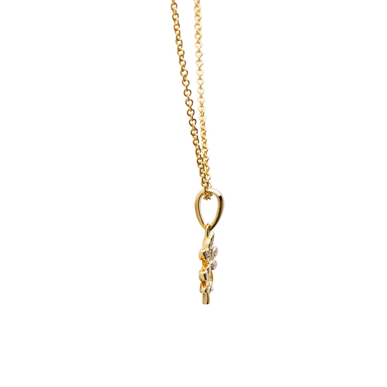 14KT Gold Vermeil Tree of Life Necklace Adorned with White Cubic Zirconias Side