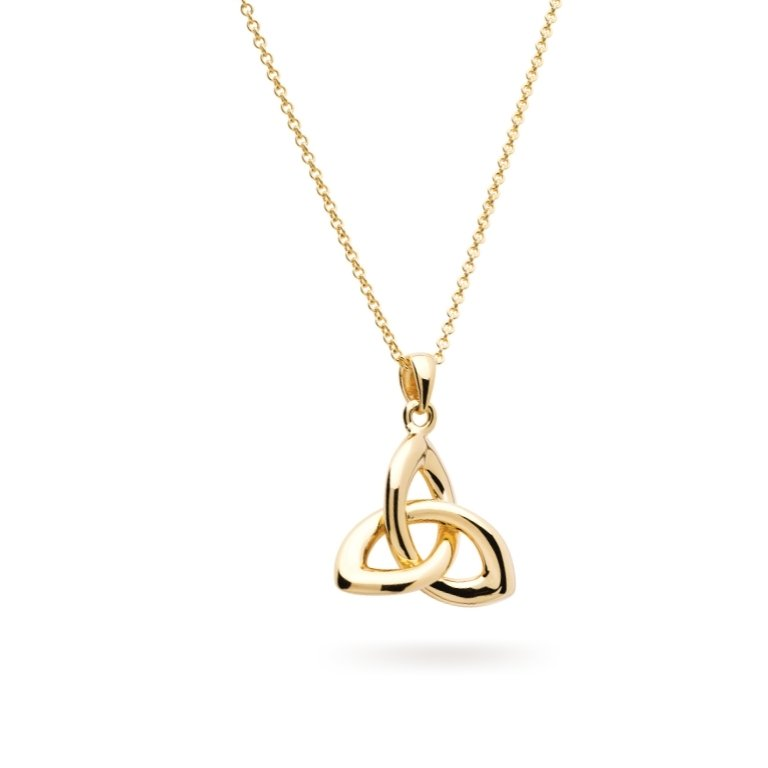 14KT Gold Vermeil Trinity Knot Necklace 3D Perspective