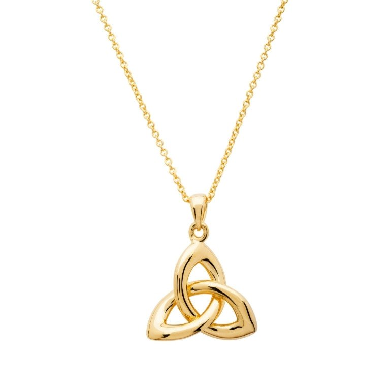 14KT Gold Vermeil Trinity Knot Necklace Front