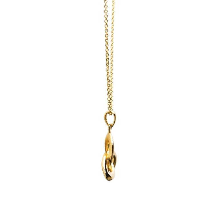 14KT Gold Vermeil Trinity Knot Necklace Side