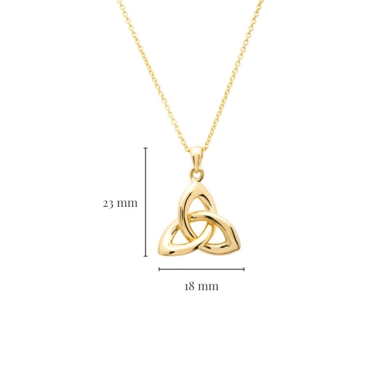 14KT Gold Vermeil Trinity Knot Necklace with Measurement